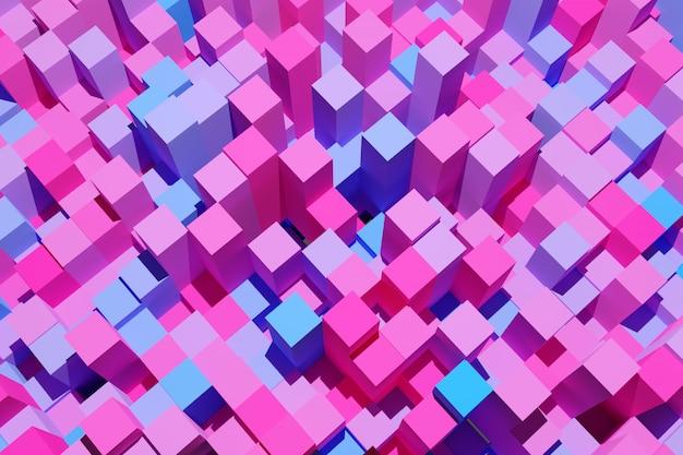 Illustration 3d fond abstrait rose et bleu avec des cubes isométriques