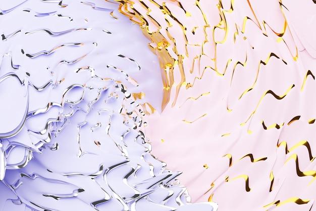 Illustration 3d d'un fond abstrait rose et jaune avec des cercles scintillants et brillant. illustration magnifique. abstrait avec effet twirl en violet
