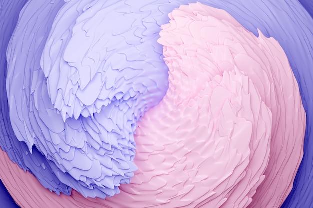 Illustration 3d d'un fond abstrait rose et violet avec des cercles scintillants et brillant. illustration magnifique. abstrait avec effet twirl en violet