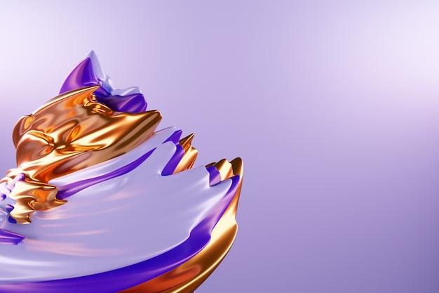 Illustration 3d d'un fond abstrait violet et or avec des cercles scintillants et brillant