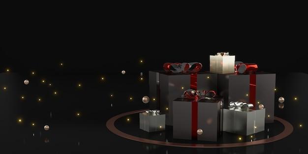 Illustration 3d de fond de décoration de vacances de boîte-cadeau et de ruban