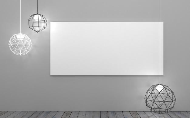 Illustration 3d fond avec une image large sur le mur dans le grenier