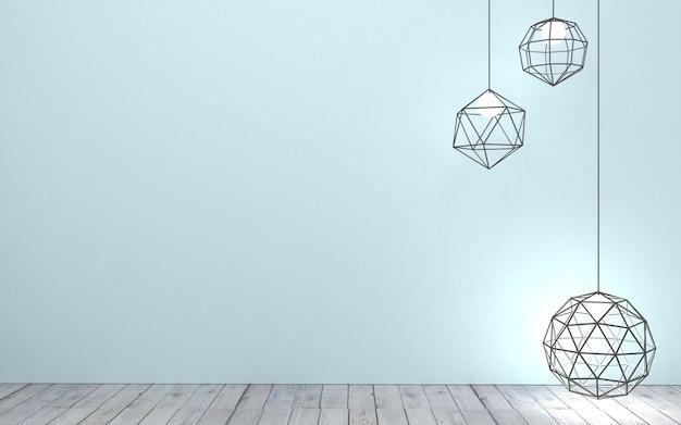 Illustration 3d fond avec des lampes modernes sur le mur dans le loft