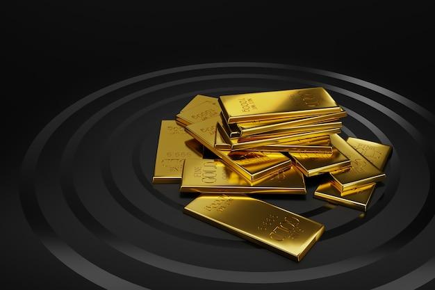 Illustration 3d de fond noir et lingots d'or