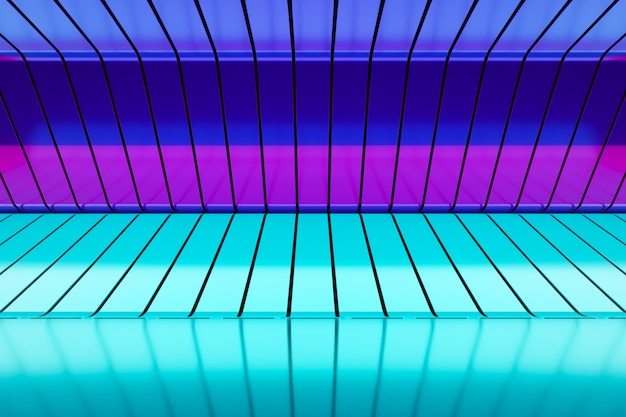 Illustration 3d fond de piédestal de studio élégant de luxe bleu-rose. scène de néon métallisé. motif de fils. motif coloré géométrique abstrait
