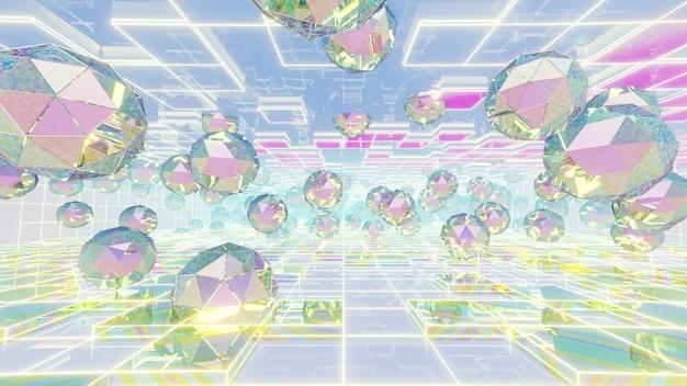 Illustration 3d fond pour la publicité et le papier peint dans la scène rétro et holographique des années 80. rendu 3d dans le concept décoratif.