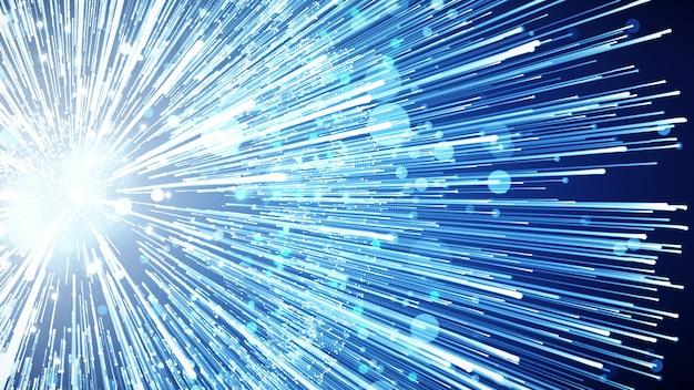 Illustration 3d fond de publicité et de papier peint dans un réseau numérique et une scène de science-fiction.