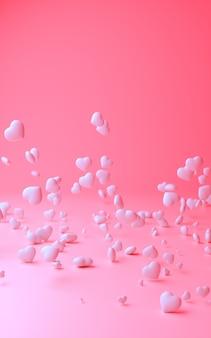Illustration 3d de fond rose clair avec composition de tailles différentes coeurs blancs