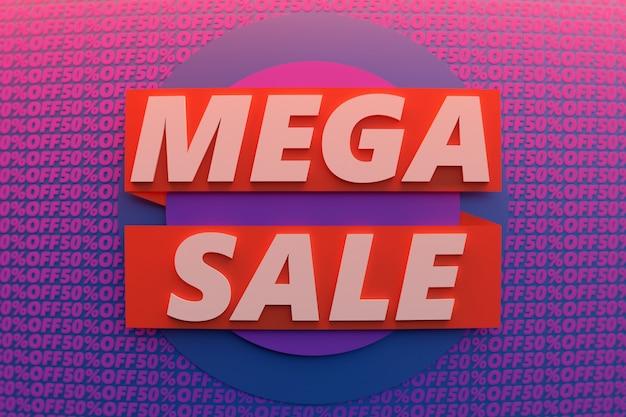 Illustration 3d d'un fond de vente géométrique bannière violet et rouge coloré.