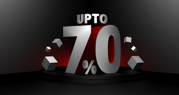 Illustration 3d de fond de vente vendredi noir. jusqu'à 70 pour cent de concept de remise de vente.