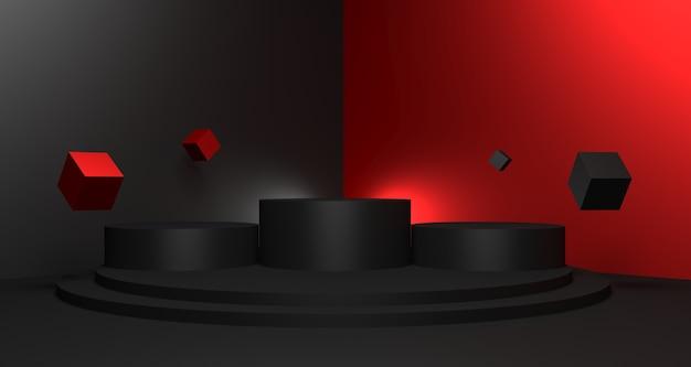 Illustration 3d de fond de vente vendredi noir avec podium vide pour le concept d'affichage du produit.