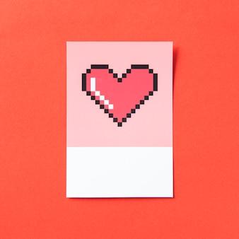 Illustration 3d en forme de cœur pixélisé