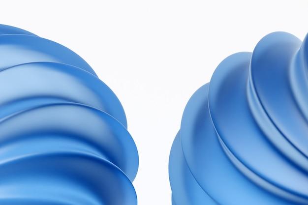 Illustration 3d de forme inhabituelle monochrome bleu