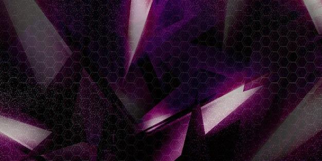 Illustration 3d avec formes géométriques nouveau concept technologique et mouvement dynamique démonstration de force prisme numérique, diamant, cristal à facettes.