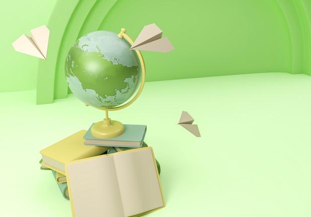 Illustration 3d. fournitures scolaires et articles avec un globe terrestre. retour à l'école