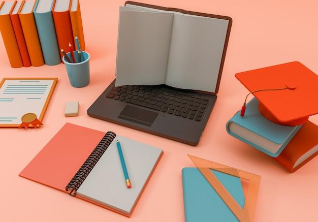 Illustration 3d. fournitures scolaires et articles avec un ordinateur portable