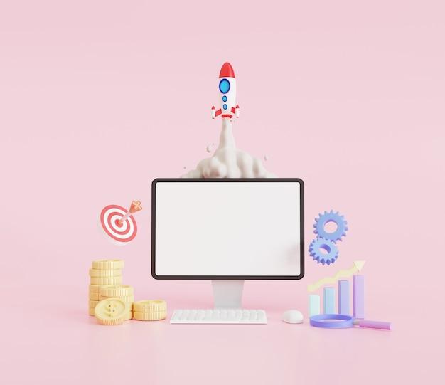 Illustration 3d. fumée de lancement de fusée sur un ordinateur portable, optimisation du référencement et concept de pme. ordinateur portable maquette, haut-parleur, cible, paramètres, fusée