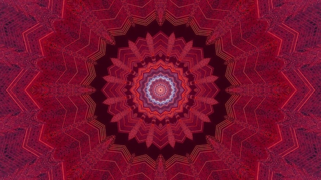 Illustration 3d futuriste abstrait visuel avec fleur kaléidoscopique circulaire de couleur rouge symétrique avec des lignes de néon