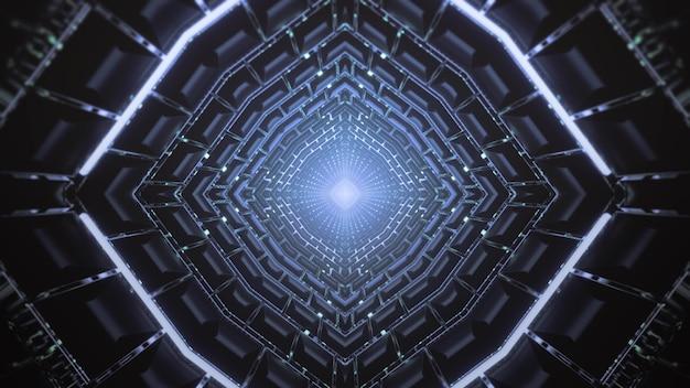 Illustration 3d futuriste abstrait visuel fond de tunnel en forme de losange avec néons et géométriques symétriques