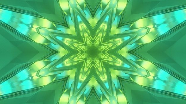 Illustration 3d de la géométrie abstraite du tunnel lumineux en forme de fleur éclairée par des lumières bleues et vertes