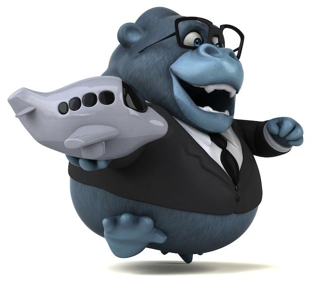 Illustration 3d de gorille amusant