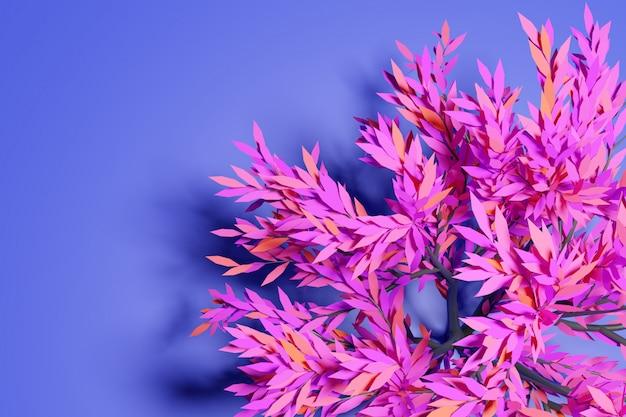 Illustration 3d d'un grand arbre à feuilles caduques néon rose et bleu