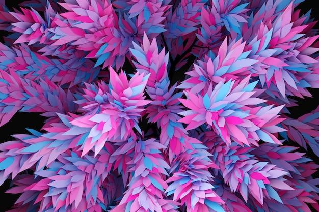 Illustration 3d d'un grand arbre à feuilles caduques néon sous une lumière rose et bleue avec plusieurs ombres