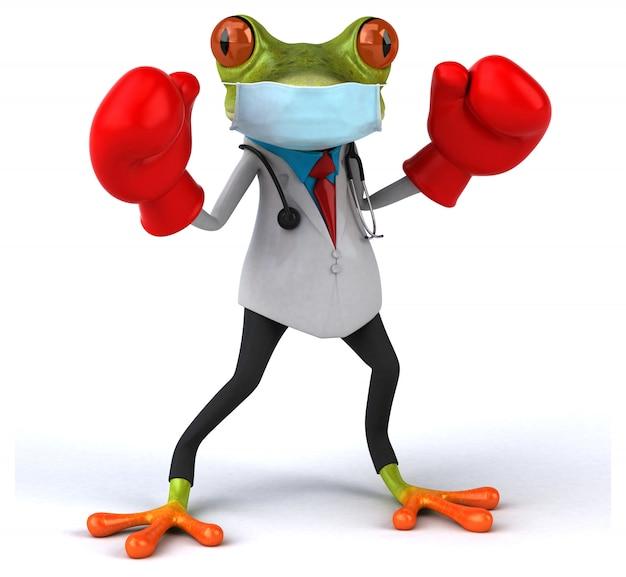 Illustration 3d d'une grenouille médecin avec un masque pour la prévention des coronavirus
