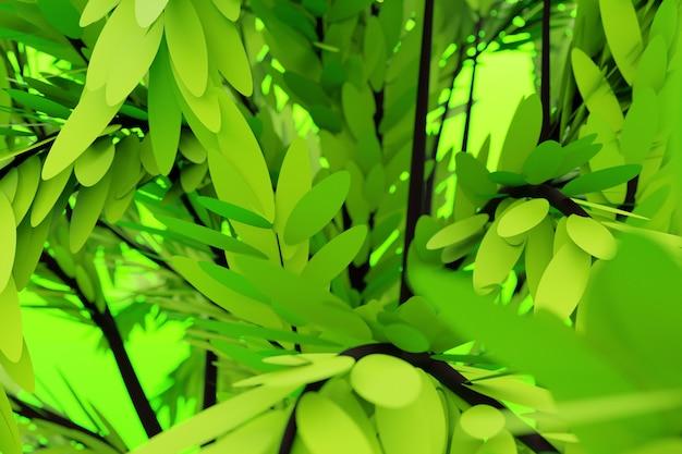 Illustration 3d gros plan d'arbre décoratif vert réaliste isolé sur fond vert. arbre à feuilles caduques stylisé