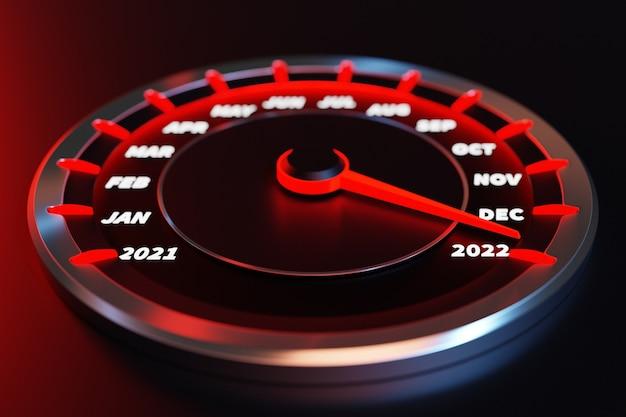 Illustration 3d gros plan compteur de vitesse noir avec coupures 2021, 2022 et mois calendaires. le concept de la nouvelle année et de noël dans le domaine automobile. compter les mois, le temps jusqu'à la nouvelle année