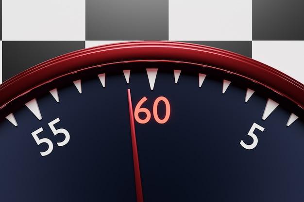 Illustration 3d gros plan d'une horloge ronde noire, le chronomètre affiche le numéro 60 sur un fond quadrillé noir et blanc. chronomètre, minuterie vintage