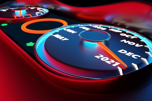 Illustration 3d gros plan indicateur de vitesse noir avec coupures 2021 et mois civils