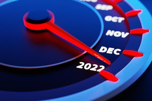 Illustration 3d gros plan panneau automobile d'instruments avec indicateur de vitesse, tachymètre, qui dit joyeux noël 2021, 2022. le concept de la nouvelle année et de noël dans le domaine automobile