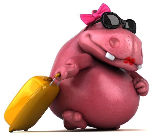 Illustration 3d de l'hippopotame rose