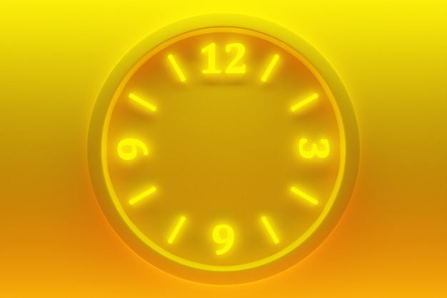Illustration 3d d'une horloge transparente ronde avec des chiffres sur un fond isolé jaune néon. notion de temps