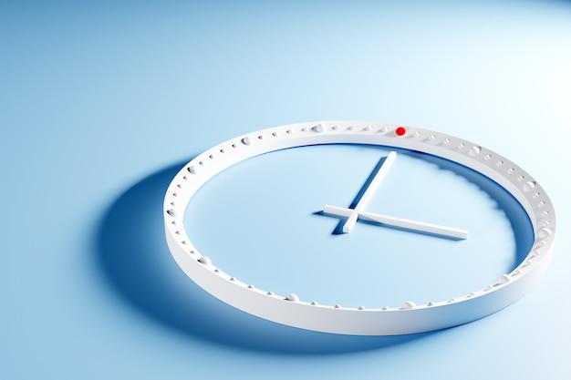 Illustration 3d d'une horloge transparente ronde sans chiffres avec une ombre sur un fond bleu isolé. concept de temps