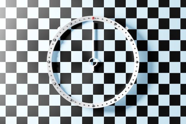 Illustration 3d d'une horloge transparente ronde sans chiffres avec une ombre sur un fond isolé damier noir et blanc. concept de temps