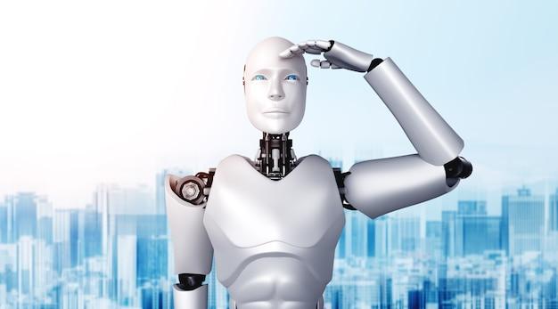 Illustration 3d humanoïde de robot avec impatience contre les toits de la ville