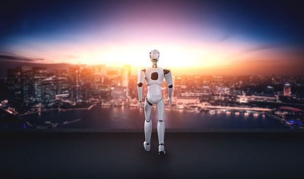 Illustration 3d humanoïde robot avec impatience contre les toits de la ville