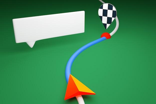 Illustration 3d d'une icône avec la direction du mouvement le long de la trajectoire avec des marqueurs de navigation