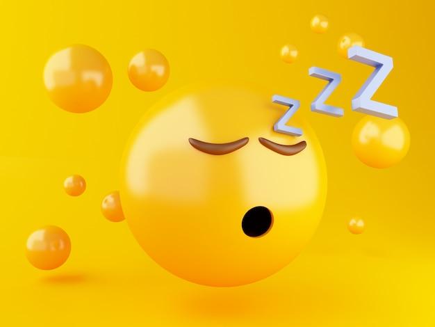 Illustration 3d icône emoji endormi sur fond jaune
