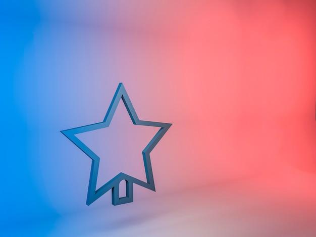 Illustration 3d de l'icône étoile de l'arbre de noël sur un fond dégradé