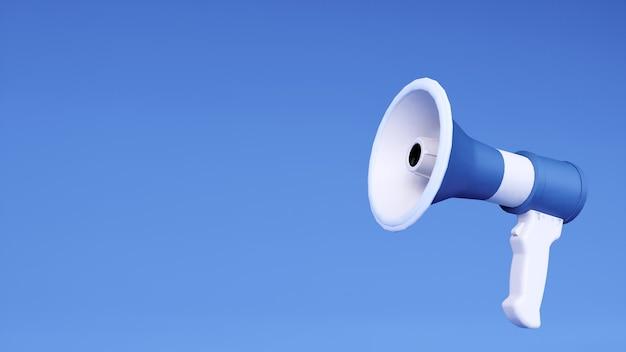 Illustration 3d de l'icône de mégaphone bleu