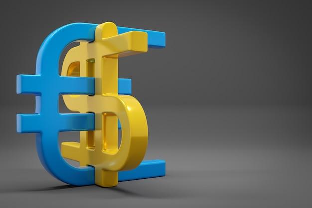 Illustration 3d des icônes d'argent euro et dollar sur fond isolé gris. symbole de change, hausse des prix. convertissez dollar en euro et inversement.