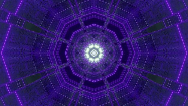 Illustration 3d illusion d'optique abstrait visuel du tunnel polyèdre avec effet de néon violet et fond en forme de fleur rougeoyante