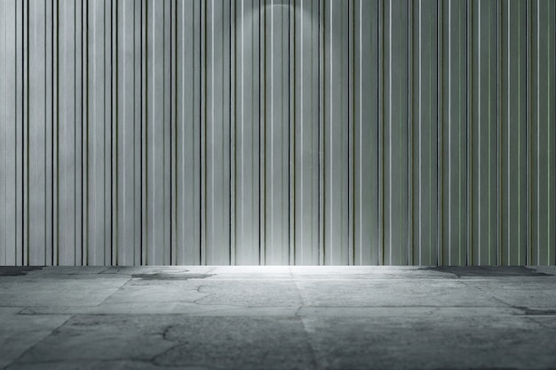 Illustration 3d. illustration 3d. intérieur industriel abstrait avec mur en acier galvanisé et sol en béton