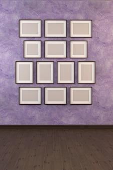 Illustration 3d d'une image sur un mur