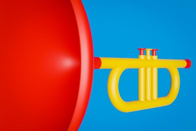 Illustration 3d d'un instrument de musique trompette en couleur jaune-rouge sur fond bleu isolé.