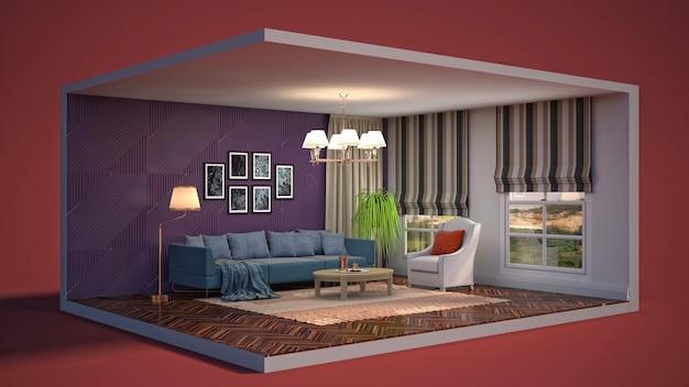 Illustration 3d intérieur du salon dans une boîte