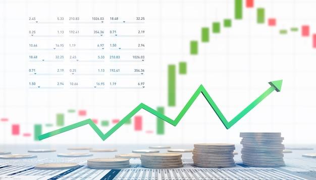 Illustration 3d de l'investissement financier en bourse avec des pièces de monnaie